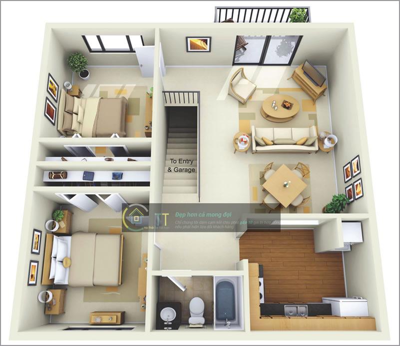 Mẫu chung cư 70 m2 lấy phòng khách làm trung tâm