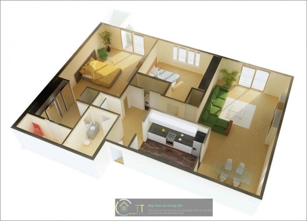 Một mẫu thiết kế nội thất chung cư với phòng khách liền bếp