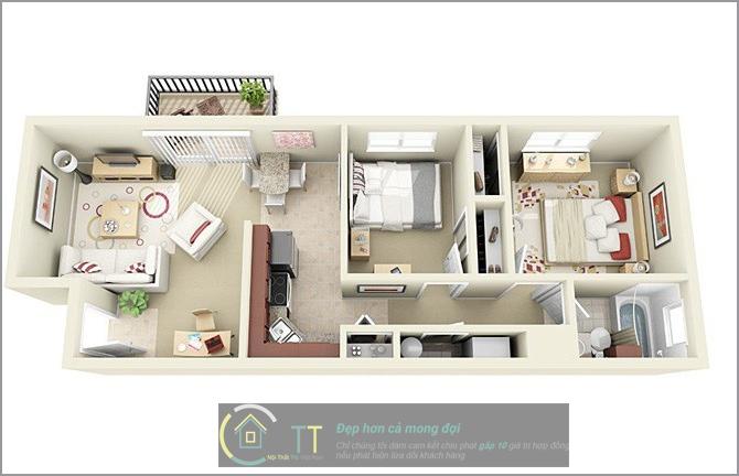Căn hộ này được thiết kế theo chiều dọc, bạn có thể tự điều chỉnh diện tích bếp sao cho phù hợp với nhu cầu sử dụng