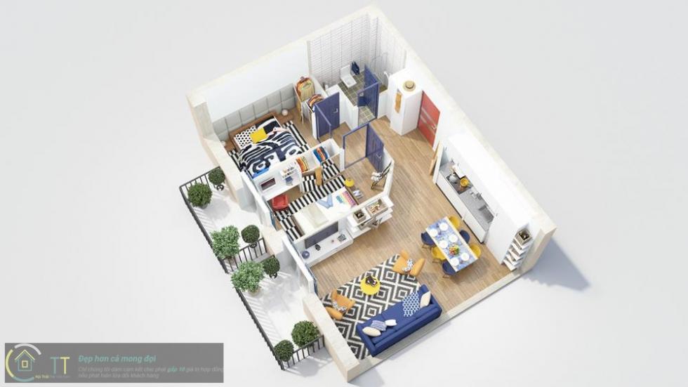 Phòng khách và phòng bếp được ưu tiên không gian rộng hơn