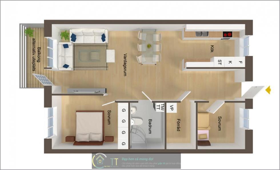 Dùng bàn ăn để phân chia hai khu phòng ngủ và phòng khách
