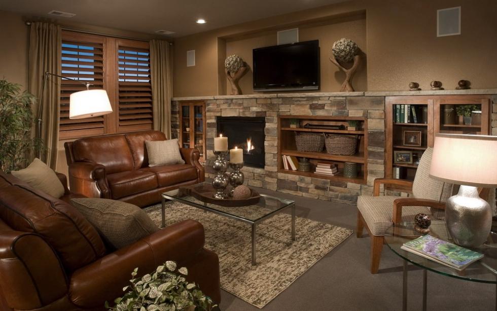 Ghế sofa da nâu trong phòng khách cổ điển