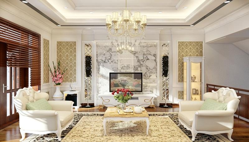 Phòng khách với giấy dán tường cổ điển