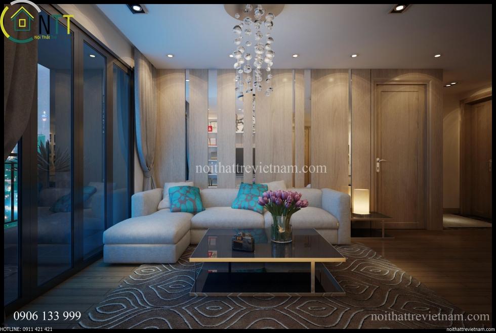Không gian nội thất phòng khách chưng cư nhà a tiến