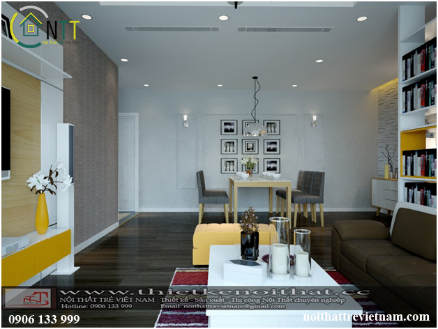 thiết kế nội thất chung cư cao cấp cho phòng khách