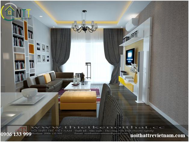 một góc nhìn khác của phòng khách thiết kế nội thất chung cư hiện đại
