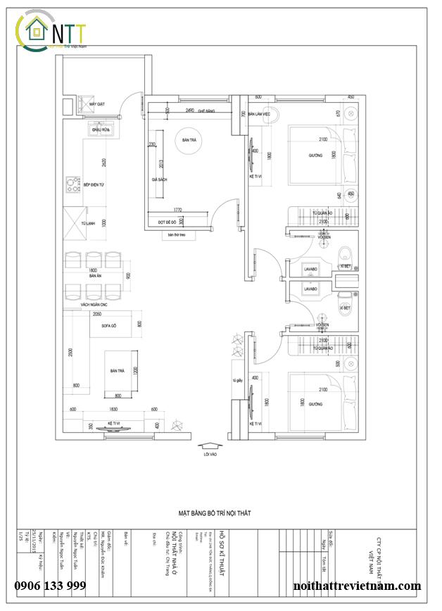 bản vẽ thiết kế nội thất chung cư nhà chị trang