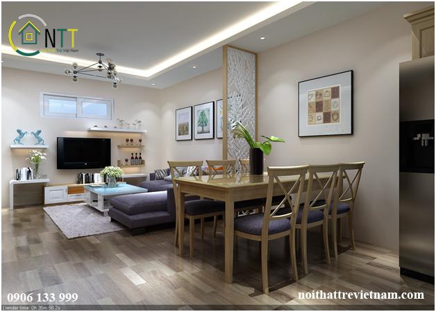 tư vấn thiết kế nội thất phòng khách liền bếp nhà chung cư