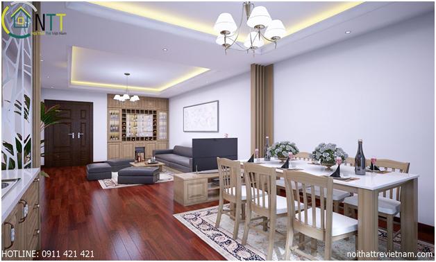 Thiết kế nội thất chung cư sử dụng gỗ sồi tự nhiên hợp với người mệnh hỏa