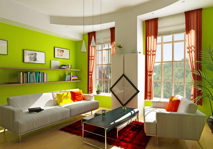 Phòng khách sơn màu xanh rất hợp với người mệnh Hỏa