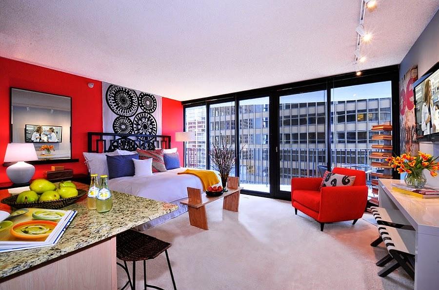 Phòng ngủ màu đỏ rất lãng mạn