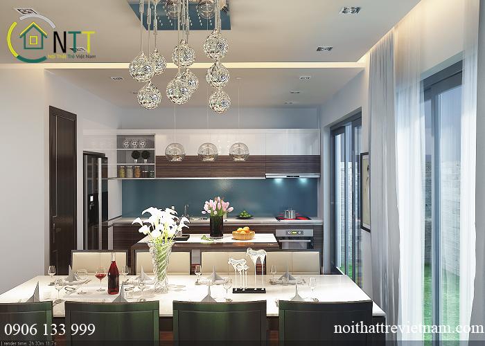 mẫu thiết kế phòng bếp nhà liền kề