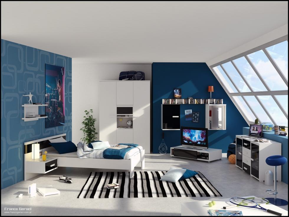 Phòng bé trai với gam màu xanh lam nam tính