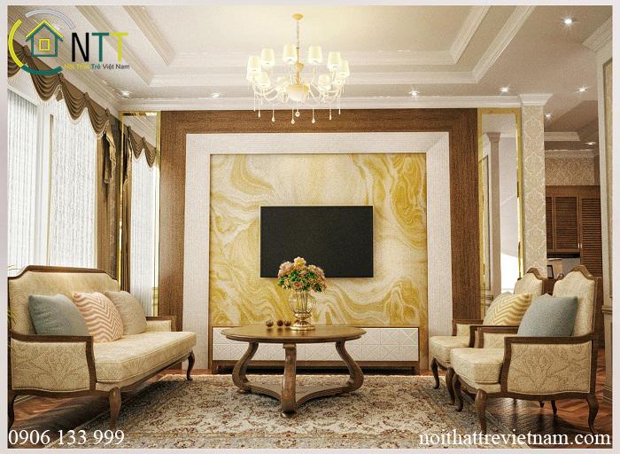 Sử dụng sắc vàng ấm cúng sang trọng cho phòng khách