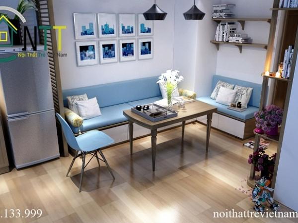 Tổng quan mẫu thiết kế phòng khách xanh mát nhà chị Dương