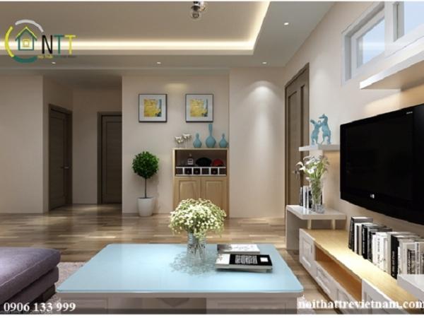 Tổng quan mẫu phòng khách đẹp chung cư chị Trang