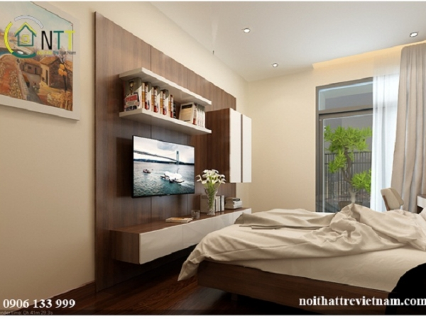 Kệ tivi kết hợp với giá sách treo tường tiết kiệm diện tích cho phòng ngủ 20m2