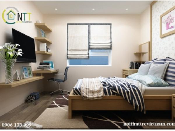 Thiết kế phòng ngủ đẹp với bàn làm việc trong căn hộ chị trang