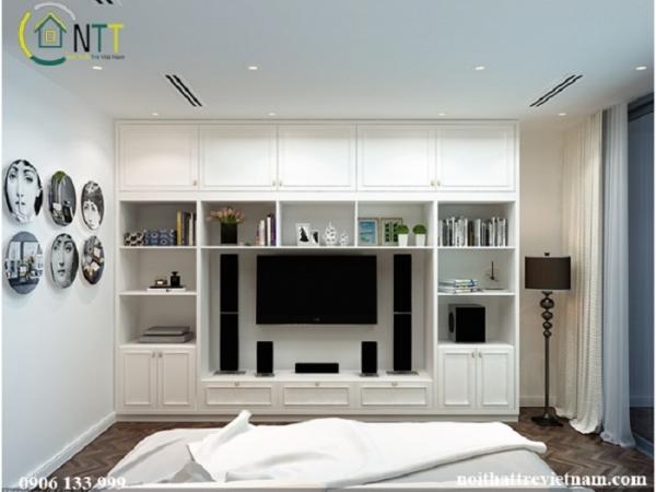 Thiết kế tủ đa năng cho nội thất phòng ngủ đẹp nhà chị trâm