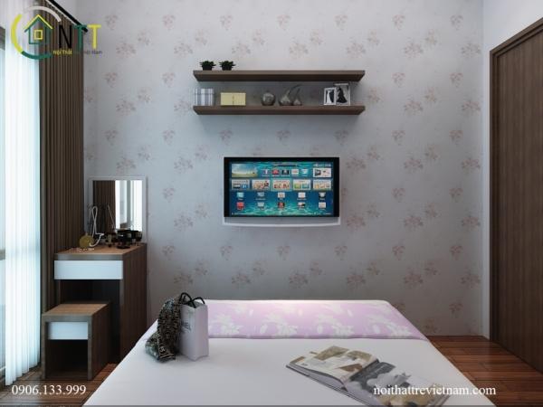 giá sách treo tường và kệ ti vi đơn giản tiét kiệm diện tích cho phòng ngủ