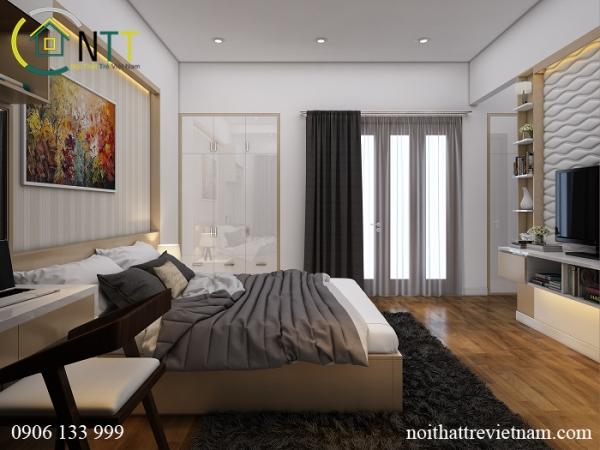 Thiết kế mẫu phòng ngủ đẹp hiện đại của chị Hường