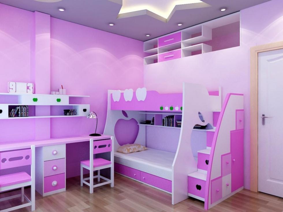 Mẫu 13: Giường tầng và bàn học màu tím cũng là một sự kết hợp hoàn hảo trong phòng ngủ bé gái