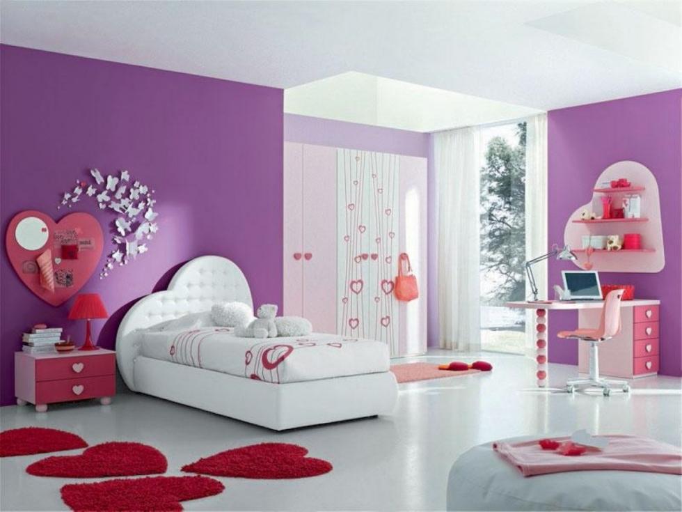 Mẫu 15 Một góc nhỏ trong phòng ngủ màu tím của bé gái mộng mơ