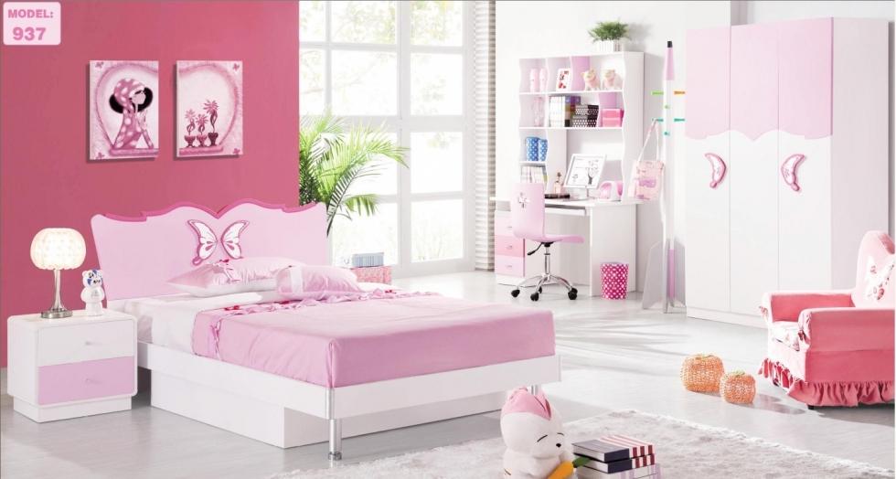 Mẫu 5: Phòng ngủ bé gái gọn gàng và điệu đà trong màu hồng trắng