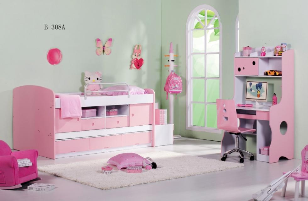 Mẫu 6: Sử dụng giường tầng màu hồng kết hợp làm tủ đựng đồ chơi