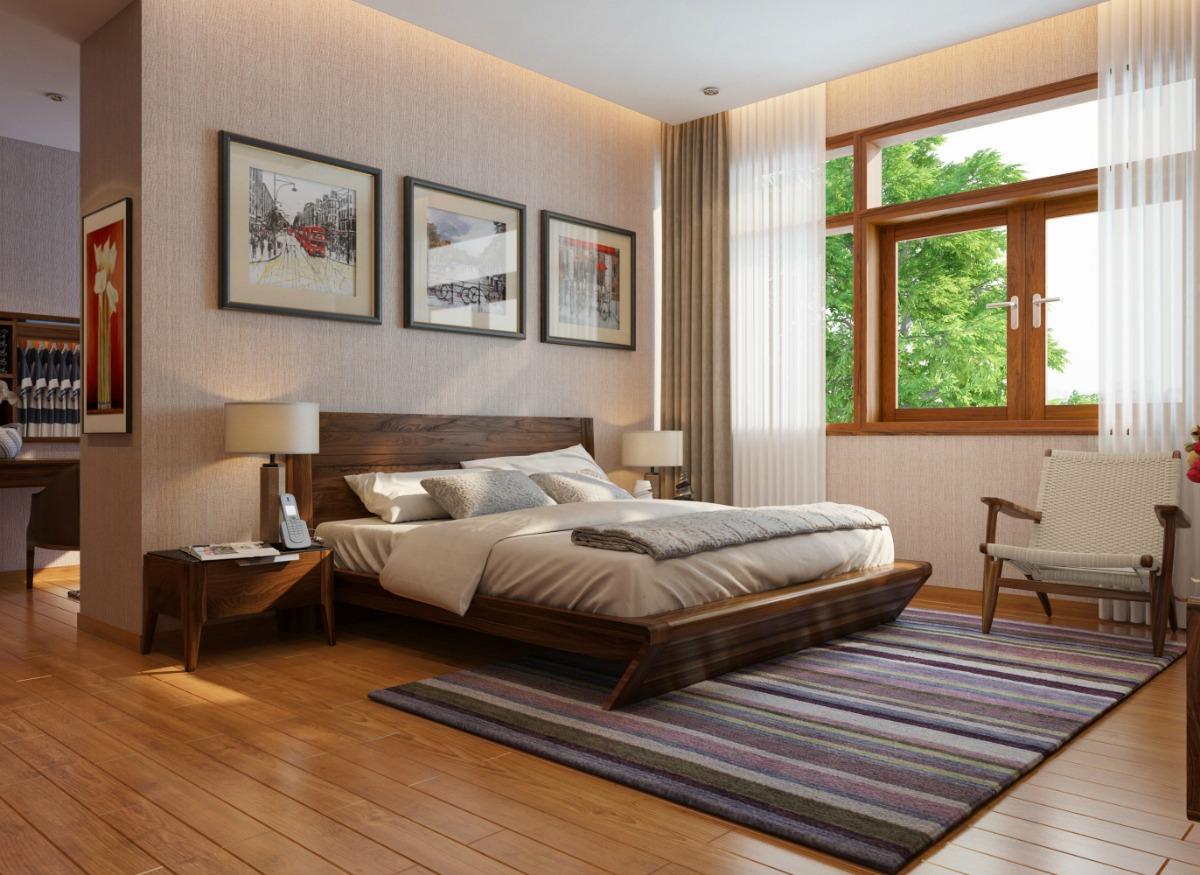 Phòng ngủ đầy đủ ánh sáng do có thiết kế hợp lí và hợp phong thủy