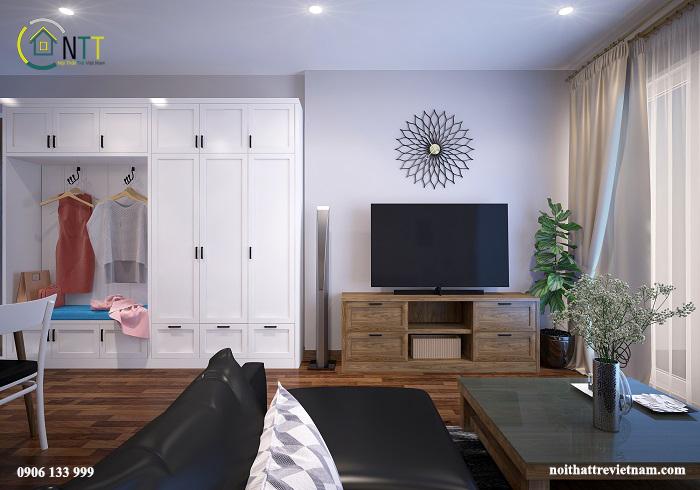 Một trong các mẫu tủ tường phòng khách đẹp sử dụng gỗ tự nhiên