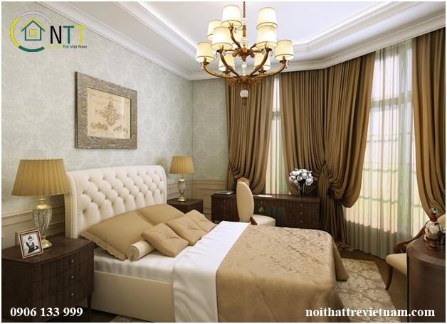Không gian phòng ngủ sang trọng với gam màu vàng - nâu