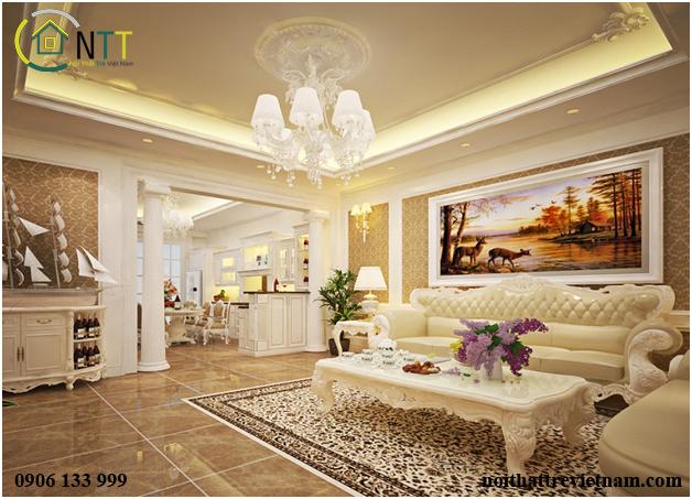Nội thất phòng khách liền bếp phong cách cổ điển sang trọng với tone màu vàng