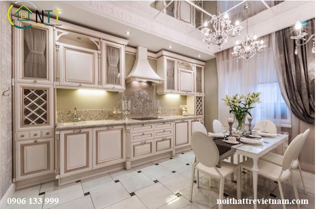 Thiết kế nội thất bếp cổ điển phong cách Pháp