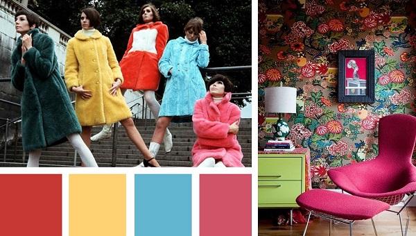 Màu sắc nội thất Retro những năm 60
