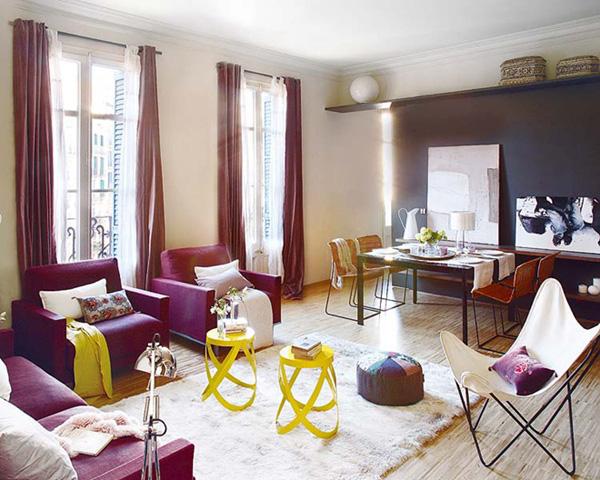 Phòng khách sử dụng màu rực rỡ tạo cá tính