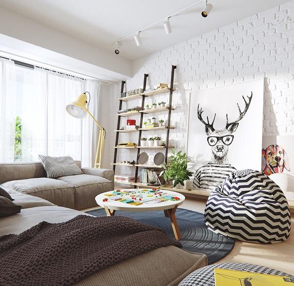 Những căn phòng Scandinavia luôn ngập tràn ánh sáng tự nhiên với thiết kế cửa kính lớn