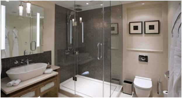 Phòng tắm đơn giản nhưng khá sang trọng