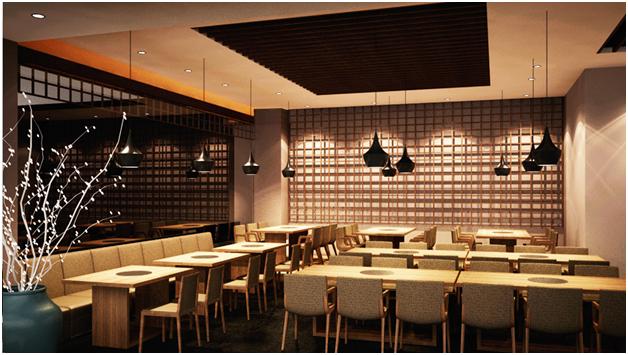 Nội thất nhà hàng phong cách Nhật Bản mẫu 1