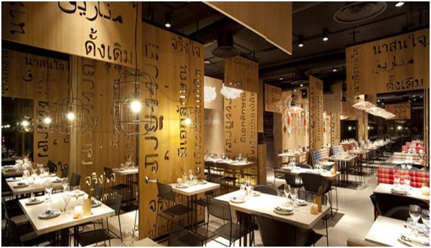 Nội thất nhà hàng phong cách Thái Lan mẫu 1