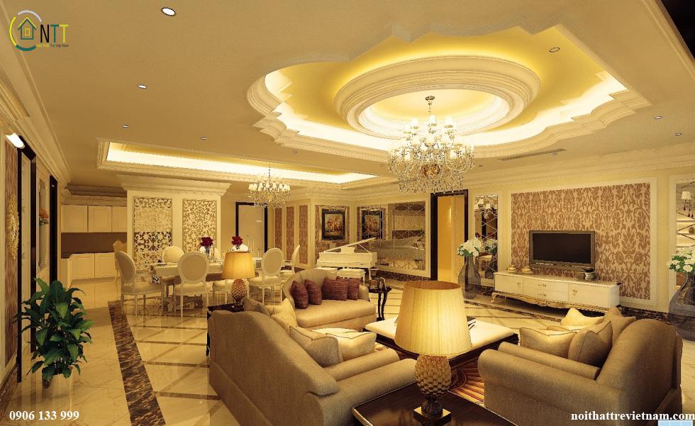 Mẫu nội thất nhà liền kề với phong cách tân cổ điển