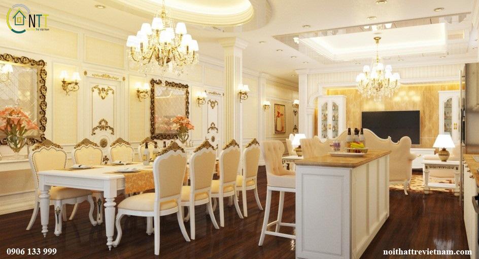 Thiết kế nội thất biệt thự liền kề trong phòng bếp, phòng ăn