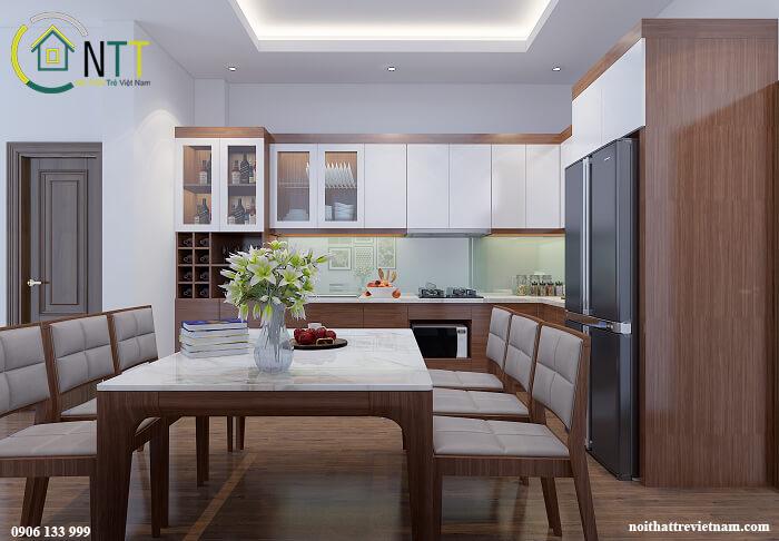 phòng ăn nhà liền kề hiện đại