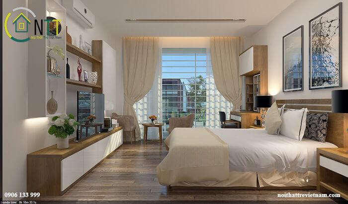 nội thất phòng ngủ với sự kết hợp màu sắc hài hòa