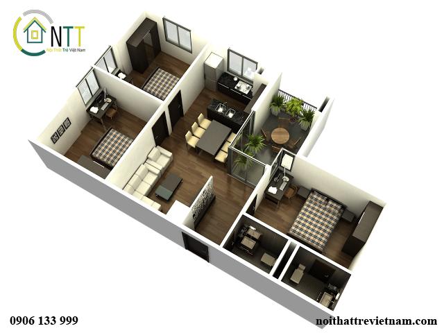Mô hình thiết kế nội thất nhà ở 3D