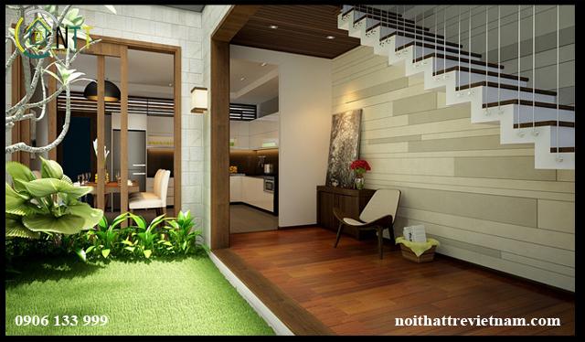 Tầng 1 với không gian sinh hoạt chung gắn liền với thiên nhiên