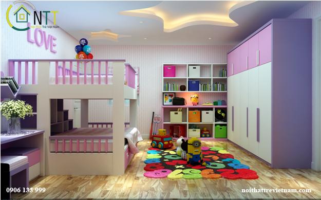 Nội thất phòng bé gái 10 tuổi sử dụng giường tầng