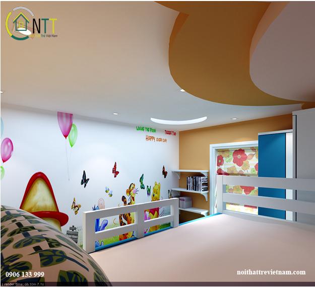 Một hướng nhìn khác không gian phòng ngủ chung cho bé trai và bé gái