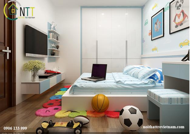 Góc nhìn khác cho phòng ngủ một hoặc hai bé trai