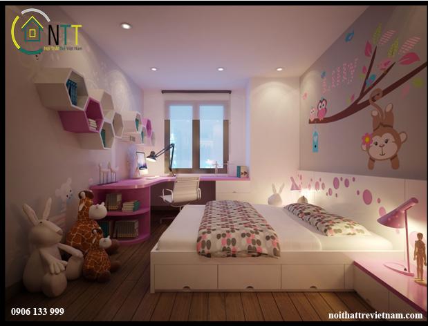 Phòng ngủ cho một hoặc hai bé gái